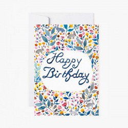 Carte de voeux HAPPY BIRTHDAY motif Liberty bleu