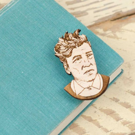 Broche en bois David Lynch