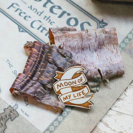 Broche en bois MOON OF MY LIFE